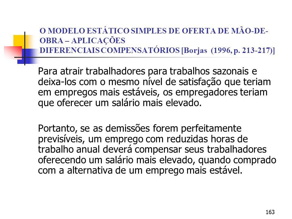 O MODELO ESTÁTICO SIMPLES DE OFERTA DE MÃO-DE-OBRA – APLICAÇÕES DIFERENCIAIS COMPENSATÓRIOS [Borjas (1996, p. 213-217)]
